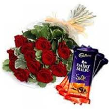 6 red roses and 3 silk chocolates