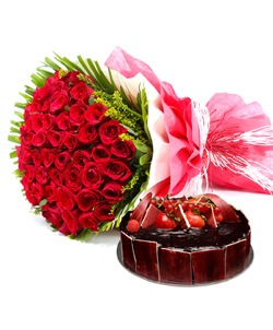 1 Kg Theobroma Black forest Cake with 20 red roses