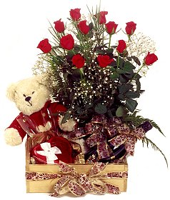 24 red roses bouquet, teddy bear, Cadburys celebration pack