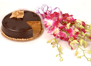 Orchids bunch+ 1/2 kg chocolate cake