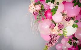 15 pink small and large air balloons with 15 pink roses and leaves