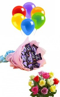 6 Air balloons 10 Mix roses 6 dairy milk bouquet