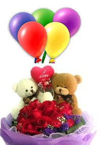 Valentine Heart 2 Teddy 10 red roses same basket 5 Air balloons