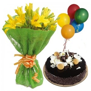 5 Air Filled Balloons with 6 Yellow Lilies bouquet and 1/2 Kg chocolate cake