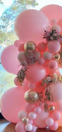40 pink gold small large air balloons with leaves and flowers