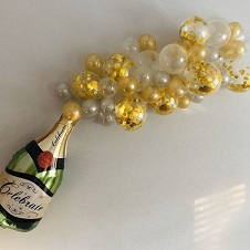 15 Gold and White balloons with a wine bottle shaped balloon