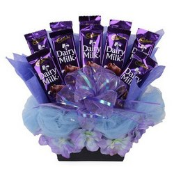 10 Silk Chocolates in Bouquet