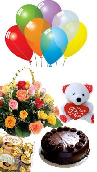 7 balloons 1/2 Kg chocolate cake 6 inches Teddy 10 Mix roses 16 Ferrero rocher
