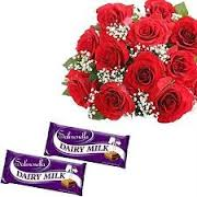 12 roses and 2 chocolates