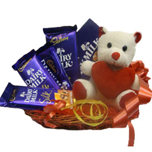 5 Cadburys Silk with Teddy in same basket