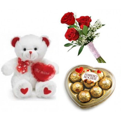 Teddy Three Red Roses Heart chocolate box