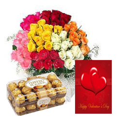 50 Mix roses basket 16 Ferrero rochers