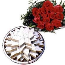 1/2kg  Kaju roll and Bunch of 10 Red roses