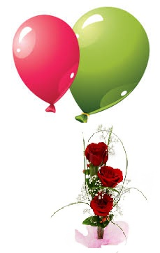 2 Air Blown Balloons with 3 red roses