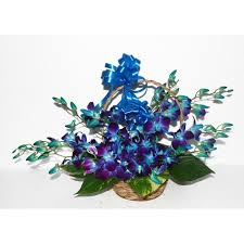 10 blue orchids arrangement