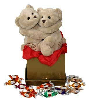 2 teddies with candies box not included