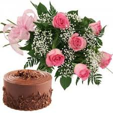 12 pink roses bouquet with 1/2 kg. Chocolate cake