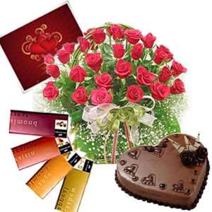 24 red roses basket with 4 temptation chocolates with 1 kg Cake and card