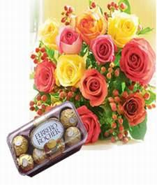16 pcs ferrero rocher with mix roses