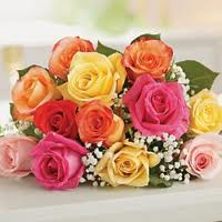 18 mix color roses in a bouquet