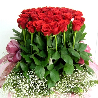 75 red roses basket