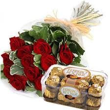 ferrero rocher chocolates with 12 red roses bouquet