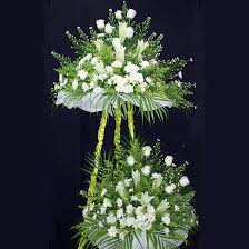 White Roses and lilies 2 tiers