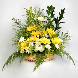 yellow gerberas in a basket