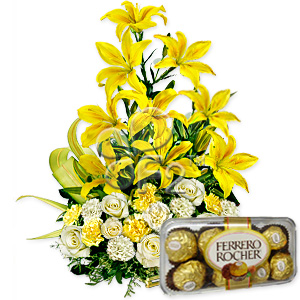 Lilies basket with chocolates box