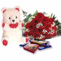 Roses with celebration box and teddy