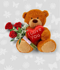 3 red roses 12 inch Teddy and Valentine heart