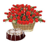 75 red roses basket, 1 kg chocolate cake