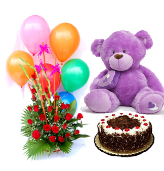 6 Air Filled Balloons with 12 red roses Basket and 1/2 Kg Black Forest cake with 12 inches Teddy