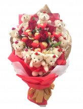 6 Red Roses with 5 ferrero and 10 teddies (6 inches each)in same bouquet