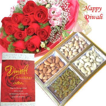 mixed dry fruits box and bunch of 10 mixed color roses