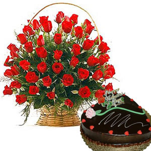 24 red roses basket with 1 kg cake