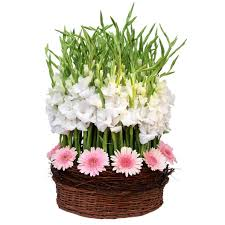 45 gerberas and gladioli in basket