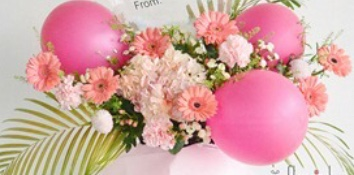 3 pink balloons with gerberas and carnations with palm leaves