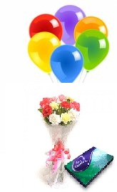 5 Air balloons Celebration box  10 Mix Carnations