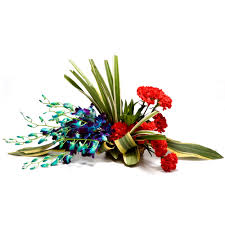 15 blue orchids 20 carnations arrangement