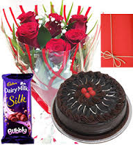 6 roses, card, cake 1/2 kg 1 silk chocolates
