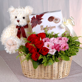 16 pc Chocolates with 24 Roses flowers basket and 1 feet Teddy bear