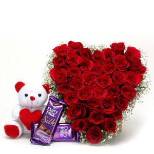 24 red roses heart 2 Silk bars Teddy 6 inch