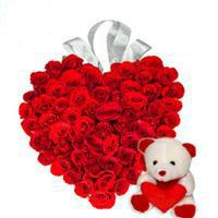 24 red roses heart with 12 inches teddy