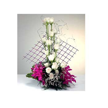 Basket of 15 Roses and 6 Orchids