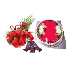 6 Red Roses 5 dairy Milk 1/2 Kg Strawberry Cake