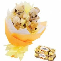 16 Ferrero rocher Chocolates and 4 Teddy bears in Bouquet