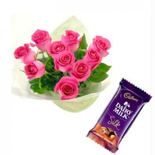 1 Cadburys Silk chocolates with 10 pink roses