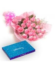 Cadburys celebration with 12 Pink roses