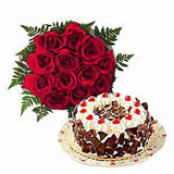 60 red roses basket, 1 kg cake